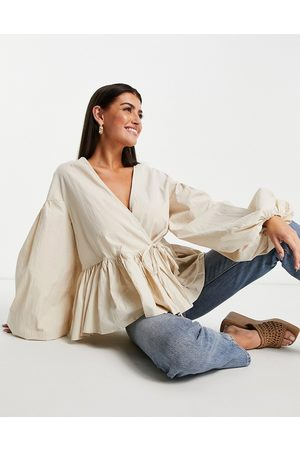 ASOS Oversized wrap smock top with blouson sleeve in -White