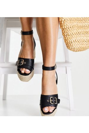 Glamorous Wide Fit Wedge espadrille sandals in black
