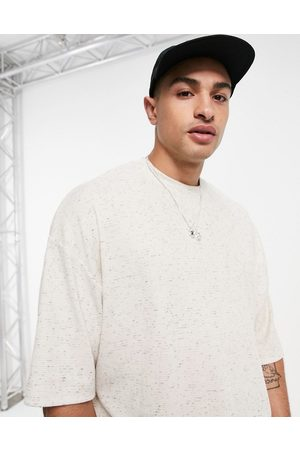 ASOS Oversized heavyweight marl waffle t-shirt with half sleeve in beige-Neutral