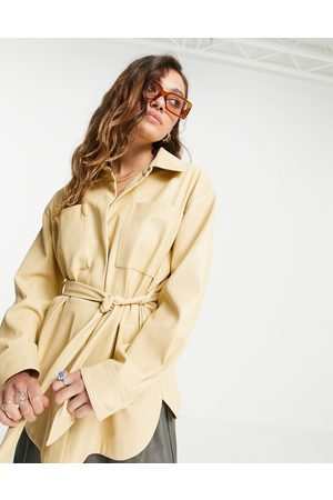 Topshop Women Leather Jackets - Faux-leather belted shirt jacket in yellow