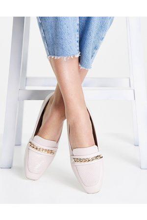 Dune Glistens chain loafers in ecru-White