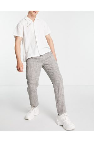 ASOS Cigarette fit pants in lightweight texture-Neutral