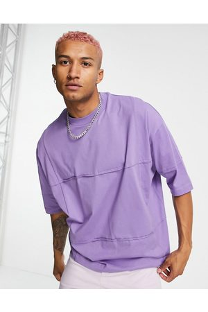 ASOS Oversized half sleeve t-shirt with seaming detail in purple