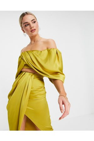 ASOS Satin drape off-shoulder top in -Yellow