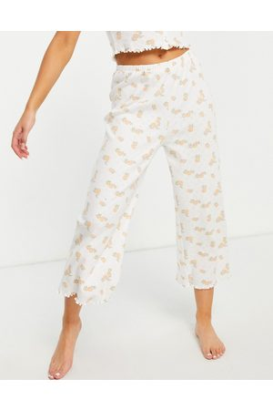 ASOS Mix & match lettuce hem floral pointelle pyjama culottes in