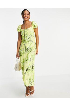 ASOS Corset detail cap sleeve midi dress with split in print-Multi