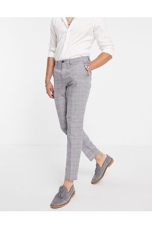 SELECTED Slim tapered linen blend suit patns in blue