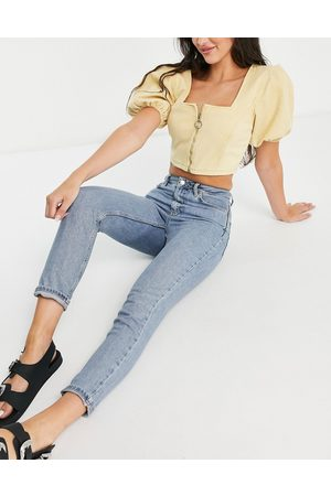 Topshop Premium organic cotton blend mom jeans in -Blue