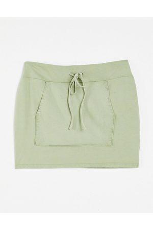 ASOS Drawstring mini skirt in acid wash-Green