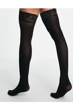 ASOS 50 denier recycled blend lace top hold ups in