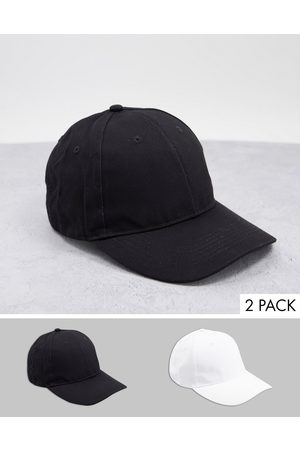 ASOS 2-pack baseball cap in black and white cotton