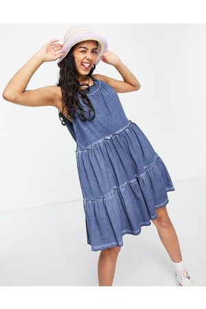 ASOS Gathered neck tiered mini in wash