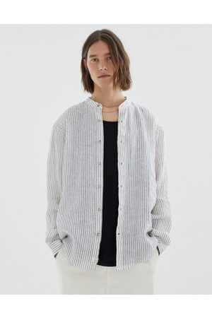 Pull&Bear Linen shirt with thin stripes in