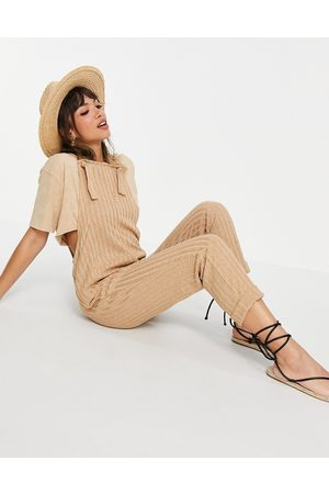 ASOS Knitted overall jumpsuit in -Brown