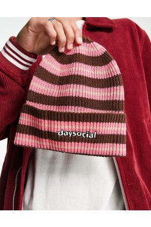 ASOS ASOS Daysocial standard beanie in pink stripe