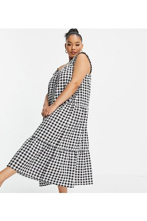 ASOS ASOS DESIGN Curve frill strap tiered midi dress in black and white gingham print with matching hair scrunchie-Multi