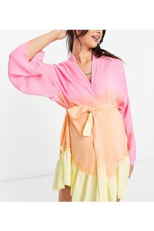 ASOS ASOS DESIGN maternity belted beach kimono in print-Multi