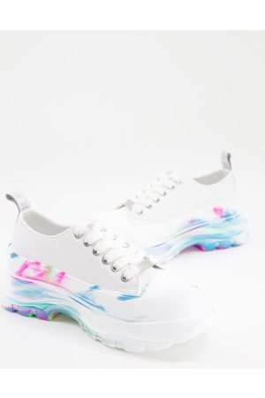 Steve Madden Capulet flatform trainers in with rainbow marble sole