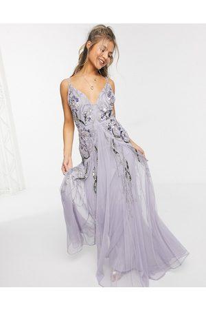ASOS Floral embellished mesh godet maxi dress in -Purple