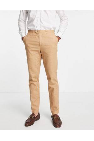 Gianni Feraud Wedding linen slim fit suit pants-Neutral