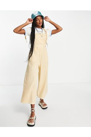 ASOS Textured tie shoulder jumpsuit in washed -White