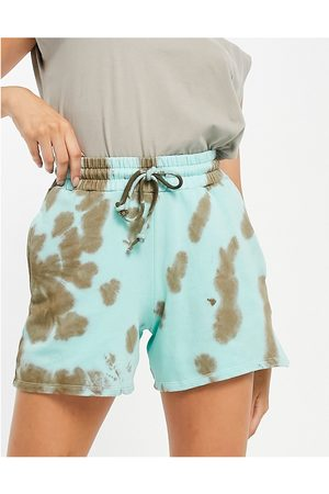 Topshop Co-ord trackie short in brown and green tie-dye