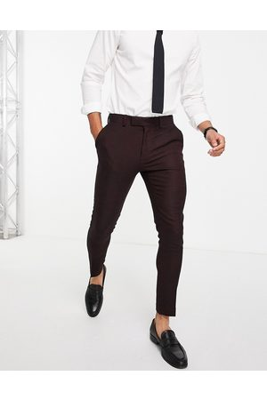 ASOS Wedding super skinny wool mix suit pants in twill-Red