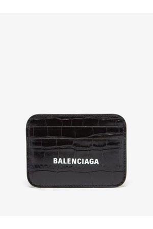 Balenciaga Cash Logo-print Croc-effect Leather Cardholder - Womens