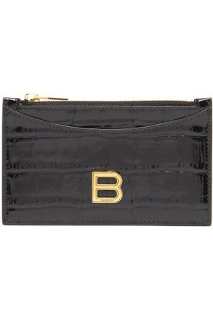Balenciaga Hourglass Zipped Croc-effect Leather Cardholder - Womens