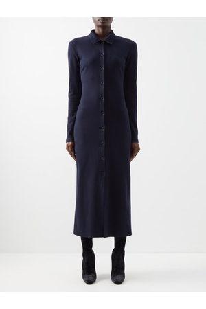 Raey Buttonned Cotton-jersey Dress - Womens - Dark Navy