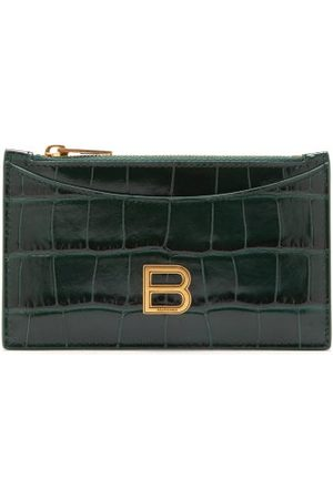 Balenciaga Hourglass Zipped Croc-effect Leather Cardholder - Womens - Dark