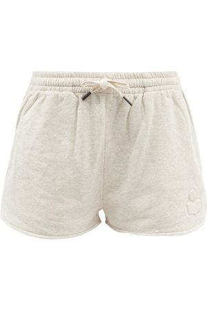 Isabel Marant Logo-embossed Cotton-blend Jersey Shorts - Womens - Ivory