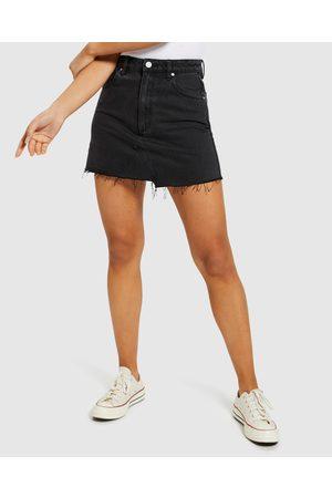 ABRAND A-line Denim Skirt Graphite