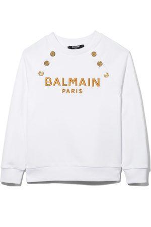 Balmain Girls Sweatshirts - Logo-embroidered cotton sweatshirt