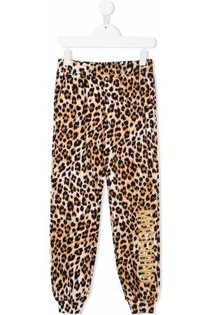 Moschino Kids Boys Sports Pants - Logo leopard print tracksuit bottoms