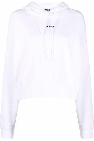 Msgm Women Sweaters - Logo-print pullover hoodie