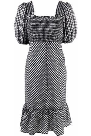 Ganni Puff-sleeves check dress