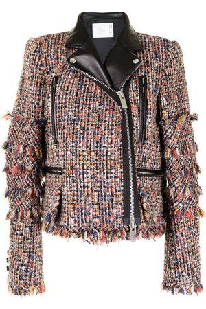 SACAI Padded tweed biker jacket