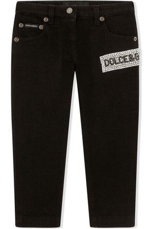 Dolce & Gabbana Girls Jeans - Embellished stretch-denim jeans
