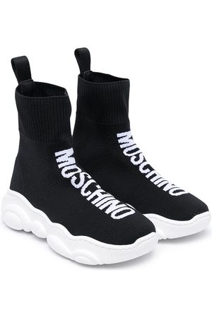 Moschino Logo-embellished piqué-knit sneakers