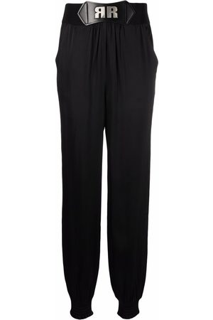 ROTATE Satin-effect belted trousers