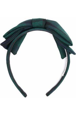 Alessandra Rich Check-print bow headband