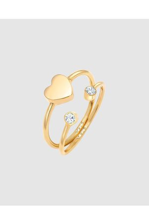 Elli Jewelry Women Rings - Ring Heart Bar Set with Crystals in 925 Sterling Silver Gold Plated - Jewellery Ring Heart Bar Set with Crystals in 925 Sterling Silver Gold Plated