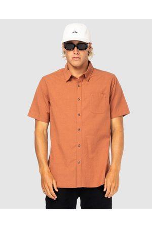 Rusty Men Short sleeves - Overtone Short Sleeve Linen Shirt - Casual shirts (BBB) Overtone Short Sleeve Linen Shirt