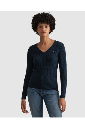 GANT Stretch Cotton Cable V Neck - Jumpers & Cardigans (EVENING ) Stretch Cotton Cable V-Neck