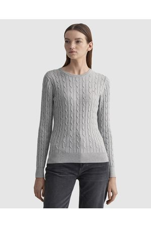 GANT Stretch Cotton Cable Crew - Jumpers & Cardigans (LIGHT MELANGE) Stretch Cotton Cable Crew