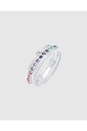 Elli Jewelry Ring Set Multi Colour with Crystals in 925 Sterling - Jewellery Ring Set Multi-Colour with Crystals in 925 Sterling