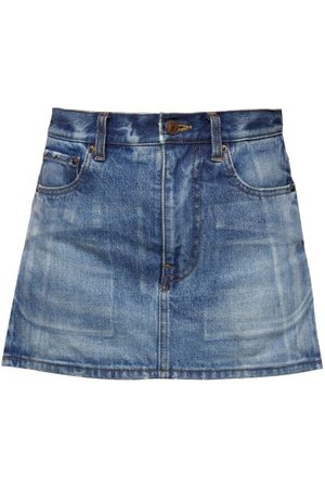 Balenciaga Distressed Denim Mini Skirt - Womens - Light Denim