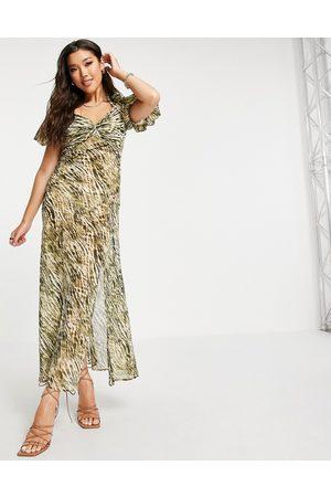 ASOS DESIGN Twist-front maxi dress in tie-dye -Multi