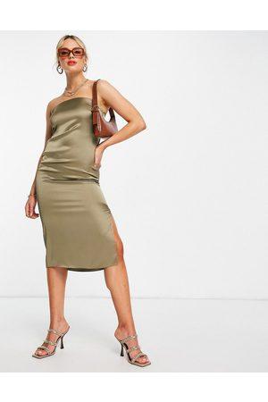 River Island Satin bodycon sleeveless midi dress in -Green